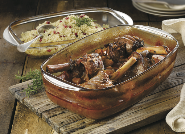 Slow Cooked Lamb Shanks with Jewelled Couscous