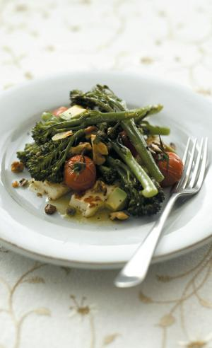 Roasted Tenderstem® Broccoli, Grilled Halloumi And Cherry Tomato Salad