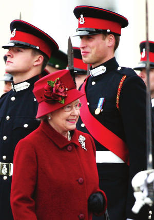 The Queen inspecting the new officers, including Prince William, at The Sovereign's Parade, Royal Military Academy Sandhurst, 15 December 2006 CREDIT: (c) Ian Jones