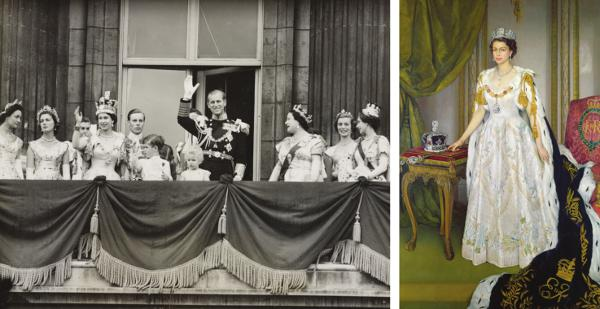 The Royal Family on the balcony of Buckingham Palace, 2 June, 1953 Royal Collection Trust/All Rights Reserved - Queen Elizabeth II in Coronation Robes, 1954, Sir Herbert James Gunn Royal Collection Trust / (C) Her Majesty Queen Elizabeth II 2013.