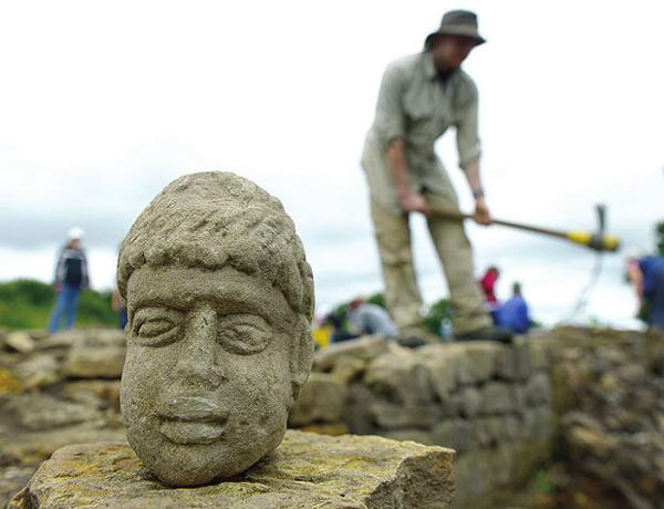 Durham university student unearths carved head of Roman god