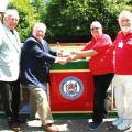 Tony Morris of Mark Master Masons hands £13,150 cheque to Peter Anderson of the Baldwin Trust