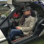 Marc Allum trying out a 'Back to The Future' DeLorean