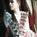 Model showing Lauren Saunders, Loughborough University, finalist for the Fashanne Textile/Fashion Accessory Design Award.