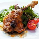 Slow Cooked Honey and Orange Glazed Duck Leg with Fresh Mixed Salad