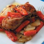 Baked Chicken with Lemony Carrots and Garlic Potatoes
