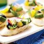 Spiced avocado, orange and red onion salad with orange and black olive vinaigret