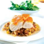 Sea Bass with Red Leicester and Hot Aubergine Salsa
